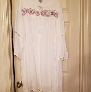 White Dress with Geometric Print
